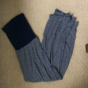GAP maternity navy striped maxi skirt